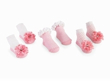Infant Girls Socks - Pink Buds & Flowers - SOLD OUT