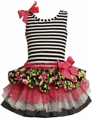 Infant Girls Spring Dress: Striped Knit Ruffle Dress - SOLD OUT