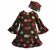 Newborn to Infant Girls Fleece Dot Coat Set with Hat  FINAL SALE
