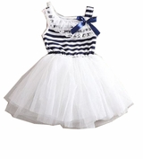 Infant or Girls White Navy Sailor Tutu Dress