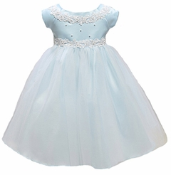 Infant or Newborn Special Occasion Dress: Blue Baby Princess Tulle Flower Girl Dress - SOLD OUT