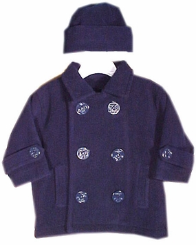 Infant Or Toddler Boys Peacoat and Hat