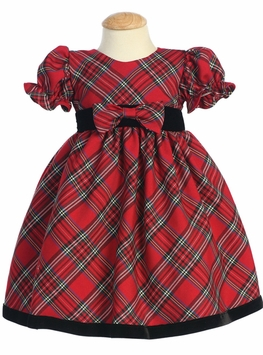 Baby or Toddler Girls  Christmas Holiday Dress - Red Plaid with Velvet