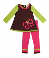 Rare Editions Infant or Toddler Girl's : Brown Butterfly Applique Knit Legging Set