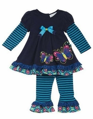 Little Girls Navy Teal Butterfly Legging Set - sold out