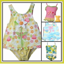 Infant or Toddler Girls Swimsuits  -  Bathing Suits and Coverup Robes