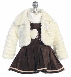 Infant or Toddler Ivory Fur Jacket and Brown Velveteen Dress - SOLD OUT