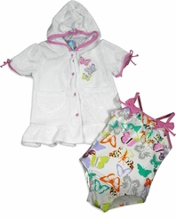 Infant Swimsuit and Robe Set -  WHITE BUTTERFLIES