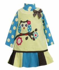 Bonnie Jean Girl's Lime Corduroy Owl Jumper Set