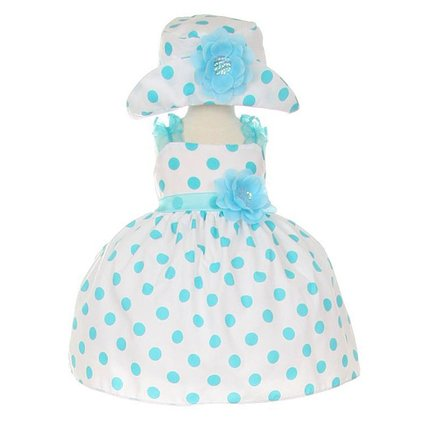 Cinderella Couture Infant-Toddler Aqua Polka Dot Party Dress with Hat Med 6-12 months at Sears.com