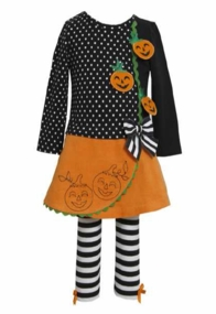 Infant Toddler Girl's Black Dot Striped Jack O Lantern Legging Set