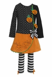Bonnie Jean Infant Toddler Girl's Black Dot Striped Jack O Lantern Dress Set