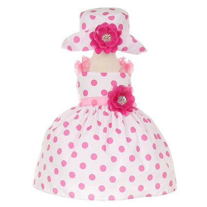 Cinderella Couture Infant-Toddler Pink Polka Dot Party Dress with Hat Small 3-6 months at Sears.com
