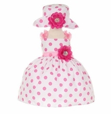 CLEARANCE Infant-Toddler Pink Polka Dot Party Dress with Hat