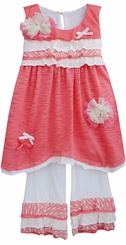 Isobella and Chloe Little Girls Carnation Kisses Pant Set