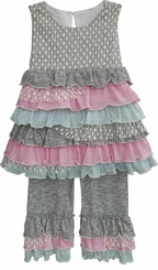 Isobella and Chloe Little Girls Heather Ruffle Pant Set