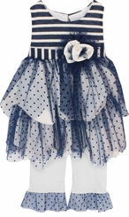 Isobella and Chloe Little Girls Navy Marina Pant Set