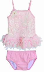 Isobella and Chloe Little Girls  or Toddler Wink for Pink Tankini Swimsuit