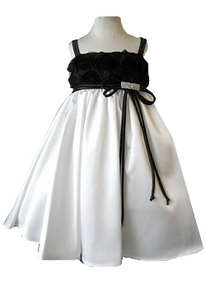 Ivory and Black Girls Dress -  Flower Bodice SIZE 7/8 LAST ONE  FINAL SALE