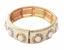 Ivory and Gold Enamel and Rhinestone Circles Stretch Bracelet