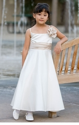 Ivory Satin Girls Flower Girl Dress or Party Dress - FINAL SALE
