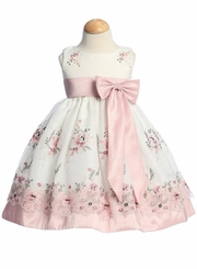 Ivory Embroidered Organza Dress with Dusty Rose Taffeta Waistband SALE