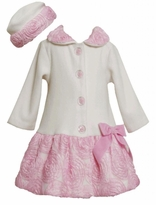 Ivory Fleece Coat and Matching Hat With Pink Rolled Flowers