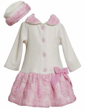 Ivory Fleece Coat and Matching Hat With Pink Rolled Flowers SALE