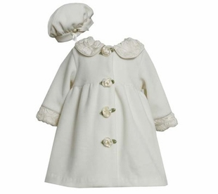 Ivory Fleece Coat with Rolled Flowers and Matching Hat