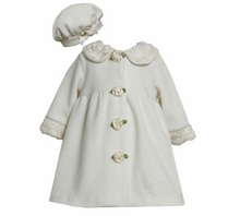 Ivory Fleece Coat with Rolled Flowers and Matching Hat CLEARANCE