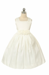 Ivory Flower Girls Dress -  Rose Waist Taffeta Ivory Dress