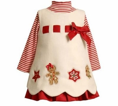 Ivory Gingerbread Men Jumper Dress - Christmas Temp out of stock
