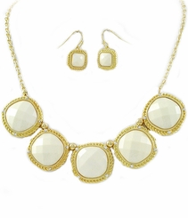 Ivory Goldtone Necklace and Earring Set