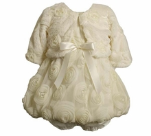 Ivory Organza Rose Bubble Dress with Fur Jacket