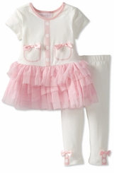 Bonnie Jean Infant or Toddler Ivory Pink Tutu Girl's Pant Set CLEARANCE