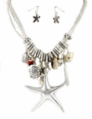 JR's Jewels - Antique Silver Sea Life Necklace and Earring Set - Back in stock!
