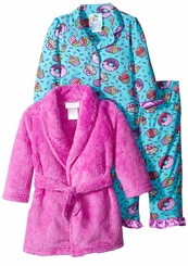 Kids Bunz Little Girls' 3 Piece Cupcakes Robe and Pajama Set