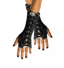 Lace Up Black and White Glovelettes