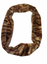 Ladies' Brown Animal Print Faux Fur Infinity Scarf