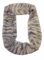 Ladies Ivory Grey Faux Fur Circle Infinity Scarf