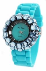Ladies TEAL BLUE Watch - Sparkle Crystals on Rubber Strap - SOLD OUT