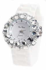 Ladies WHITE Watch - Sparkle Crystals on Rubber Strap