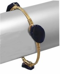 Lapis Style Oval Stone Gold Plated Wrapped Bangle