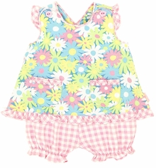 Le Top Baby Daisy Popover Top and Gingham Panty Set