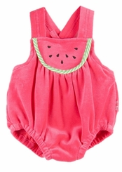 Le Top Baby-Girls Fuchsia Watermelon Velour Bubble Sunsuit - sold out