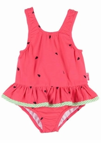 Le Top Baby Girls Watermelon Red Ruffle Swimsuit with Bow on Back