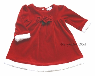 Le Top  Girls Christmas Dress Velour with Roses