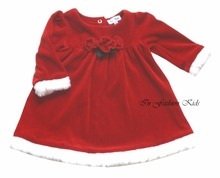 Le Top  Girls Christmas Dress Velour with Roses 4-6X  FINAL SALE