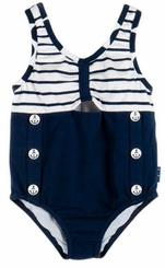 Le Top Girls Navy Blue Striped One Piece Swimsuit with Nautical Buttons