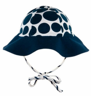 Le Top Girls Polka Dot Sunhat with Stripe Ties � Sail Away
